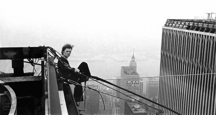 "August 7, 1974, New York, New York, USA: Philippe Petit, a young frenchman, gave the most spectatular high-wire performance of all time by transversing the span beteen towers I and II of the WTC eight times in one hour. Mr. Petit and his team had illegally rigged their cable under the cover of night and he was arrested by the Port Authorities and charged with ""attempt(ing) to cause public inconvenience,"" and trespassing.. Credit: Jean-Louis Blondeau / Polaris"