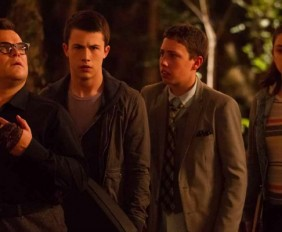 """L-r, Jack Black, Dylan Minnette, Ryan Lee and Odeya Rush star in Columbia Pictures' """"Goosebumps."""""""